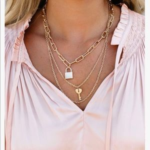VICI under lock and key layered gold necklace